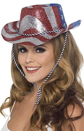 Damen Herren Cowboyhut Stars Stripes American USA Glitzer Hut 4. Juli Fasching Kostüm Zubehör