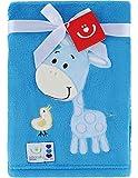 Be Mammy Kuschlige Babydecke Kuschel Decke Tagesdecke mit 3D Applikation 76 x 102 cm KCSN-10 (Blau - Giraffe)