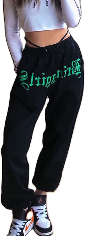 Women Y2K Graphic Sweatpants Casual Elastic Waist Drawstring Loo