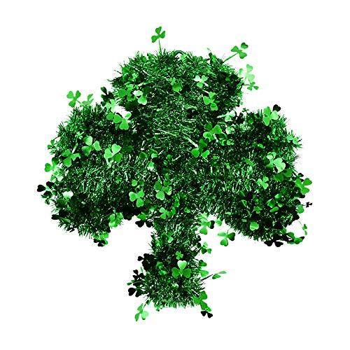 Moent Corona de alambre verde para el día de San Patricio, trébol irlandés de la suerte para puerta y decoración del hogar, festival, fiesta, hogar, suministros divertidos