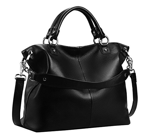 Heshe Women Leather Shoulder Bag Tote Handbags Crossbody Bag Ladies Designer Purse Satchel (Black-r)