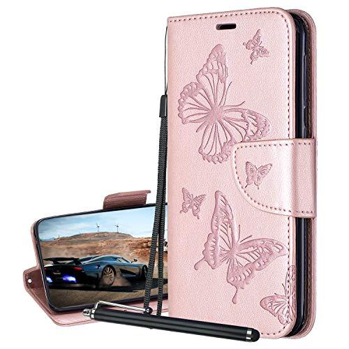 Laybomo Hülle für Nokia 3.2 Ledertasche Schmetterling Schuzhülle Weiches TPU Silikon Cover Magnetisch Brieftasche Schale Handyhülle Nokia 3.2 mit Visitenkartenhüllen (Rotgold)