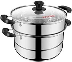 HRXD Steamer 26cm Stainless Steel Double-layer Steamer Double Bottom Can Be Steamed And Boiled And Used For A Variety Of P...