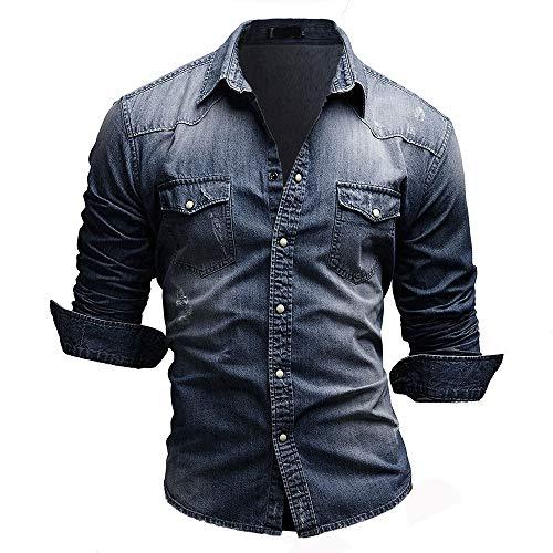 Jiayuan Camisa Vaquera Camisa Vaquera de algodón para Hombre Moda Primavera y otoño Camisa Vaquera Delgada de Manga Larga Moda Lavado Slim Top 3XL