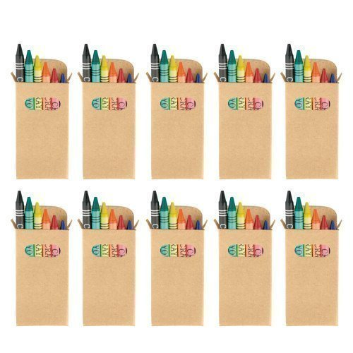 eBuyGB Sets of Colouring Wax Crayons - Kids Party Bag/Loot Toy Wedding Favour, Pack of 10