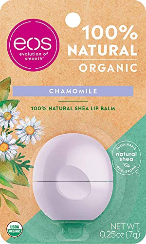 eos USDA Organic Lip Balm - Chamomile | Lip Care to Nourish Dry Lips | 100% Natural and Gluten Free | Long Lasting Hydration | 0.25 oz