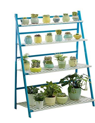 ESPERANZAXU Bamboe Bloem Stand Plant Display Stand Binnen en Buiten Bloemenstandaard Tuin Balkon 4 Laag Pot Rack (Blauw en wit 100cmx47cmx122cm)