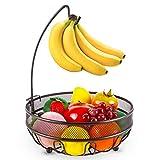 Bextsrack Fruit Basket Bowl with Banana Tree Hanger for Kitchen...
