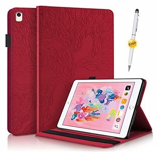 KSHOP compatibile con Custodia tablet per Apple iPad 5th/6th,iPad Air 1,iPad Air 2,Apple iPad 9.7 inch 2017/2018,iPad Pro 9.7-inch Smart Case Cover Auto Wake/Sleep Rosso
