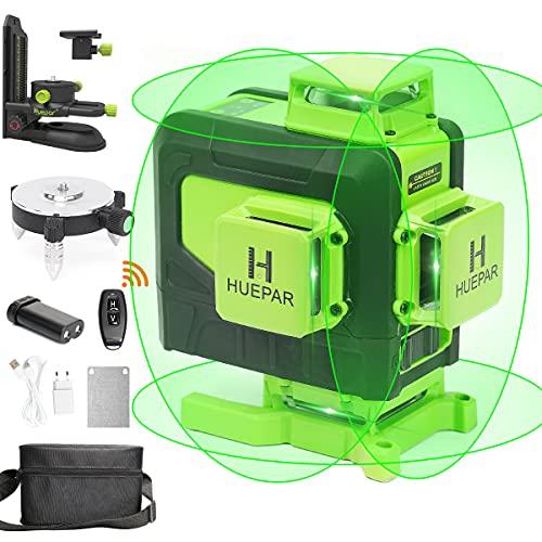 Huepar 4x360 Laser Level Self-leveling 16 Lines Green Beam 4D Cross Line Tiling Floor Laser Tool-Horizontal&Vertical Laser Lines with Remote Control, Magnetic Bracket, Li-ion Battery&Adjust Base 904DG