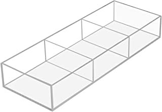 NIUBEE 3-Section Acrylic Drawer Organizer Storage Tray, Small Clear Plastic Desk Makeup Drawer Organizer for Kitchen,Bathr...