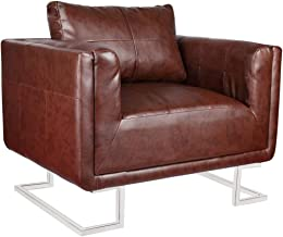 vidaXL Cube Armchair with Chrome Feet Artificial Leather Brown Sofa Chair Seat