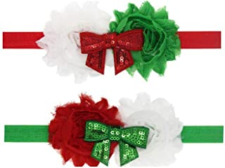 BinaryABC Baby Girl Christmas Headbands Hairband Bowknot Hair Bows,2Pcs(2)