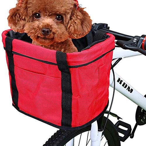 WDEC Cesta para Bicicleta, Cesta de Bicicleta Plegable Desmontable Bolso Portador de Perro Pequeño, Impermeable Cesta Delantera de Bicicleta para Porta Mascotas, Camping al Aire Libre, Picnic (Rojo)