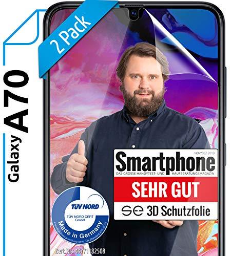 Preisvergleich Produktbild [2 Stück] 3D Schutzfolien kompatibel mit Samsung Galaxy A70 - [Made in Germany - TÜV NORD] - HD Displayschutz-Folie - Hüllenfreundlich Transparent kein Schutz-Glas - Panzer-Folie TPU - Klar