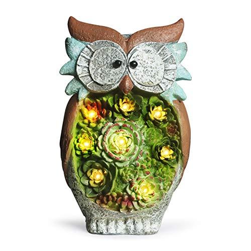 GROWNEER 10 Inches Solar Powered Garden Statue Resin Lawn Ornaments Indoor Outdoor Owl Sculpture, Home Décor, Garden, Patio, Yard, Balcony