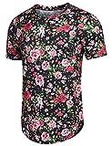 COOFANDY Men's Floral T Shirt Print Casual Short Sleeve Shirt Hipster Hip Hop Tee Black