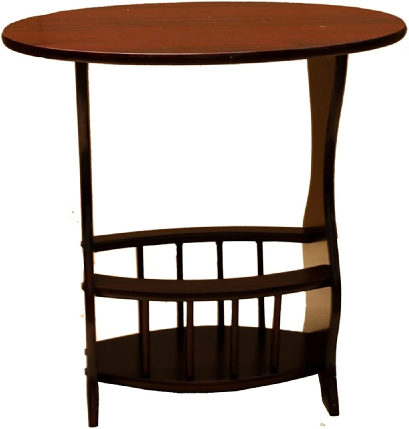 Oval Accent Table w Magazine Holder Base in Cherry Finish