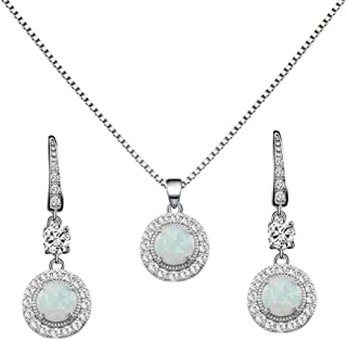 925 Sterling Silver Necklace and Earrings Sets with Round White Opal/Clear Cubic Zirconia CZ Stones and Italian Box Chain for Women