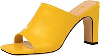 Women's Sexy Slip On Square Toe Summer Shoes Slippers Stiletto High Heel Dress Sandals Casual Dress Shoes