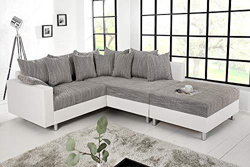 Design Ecksofa mit Hocker LOFT weiss Strukturstoff grau Federkern Sofa OT beidseitig aufbaubar - 3