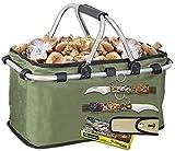 Tiendas LGP Albainox, Set Cesta Multiusos Plegable Especial para recolección de Setas y Frutas + Navaja Setera