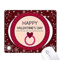ピンクのラウンドの幸せなバレンタインデー オフィス用雪ゴムマウスパッド