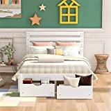 Merax Full Size Bed Frame with Drawers ,Wood Bed Frame Full with Headboard, Full Platform Bed Frame with Storage for Kids ,No Box Spring Needed,White