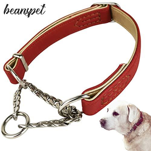 beanspet犬ハーフチョーク2層革首輪犬首輪革おしゃれかわいい大型犬犬の首輪いぬくびわレザー犬用品(L,レッド)