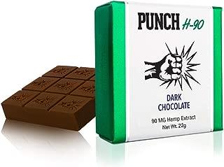 PunchBar H-90 Organic Hemp Dark Chocolate 90MG - Health Edibles for Anxiety, Pain, Stress, and Sleep Aid - No THC - 3 Pack