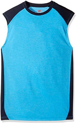 Hanes Men s Sport Performance Muscle Tee, Hydro Heather Navy, XX-Large
