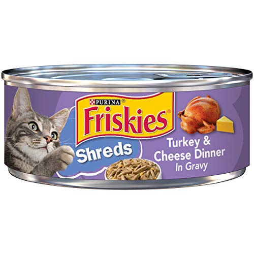 Friskies Savory Shreds Turkey & Cheese Dinner In Gravy Canned Cat Food 24 - 5.5oz Cans