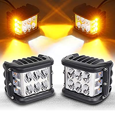 Side Shooter, LED Pods Light 4 inch Off Road Dual Side Yellow DRL with Flash Strobe Function Driving Flood Spot Cube Work Light Bar for Jeep Truck ATV Boat