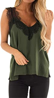 VESKRE Women's Summer Tank Tops Plus Size Sleeveless Solid Vest Blouse Pullover