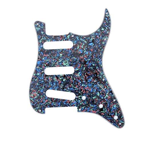 Musiclily 11 Furos Escudo SSS Pickguard Strato para Guitarra Fender EUA / Mexicana Made Stratocaster Standard Estilo Moderno, 4 Camadas Abalone Shell