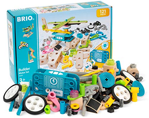 BRIO ( ブリオ ) ビルダー モーターセット [全121ピース] 対象年齢 3歳~ ( 組み立て おもちゃ 積み木 知育玩具 木製 ) 34591