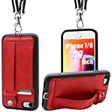 TOOVREN iPhone SE2 Case iPhone 7/8 Wallet Case Lanyard Neck Strap iPhone 7/8/SE Protective Case with Kickstand Leather PU Card Holder Adjustable Detachable Necklace for Anti-Lost and Outdoors Red