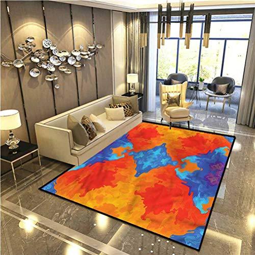 Trippy Bedroom Rugs Patio Rug Rug pad Blue Orange Kaleidoscope Furniture Carpet Protectors 5 x 6 Ft
