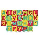 LUDI – Tapis de sol épais et jouet Éducatif – 1054 - puzzle géant aux motifs Lettres – dès 10 mois – lot de 26 dalles en mousse multicolores et 26 éléments pour apprendre à lire.