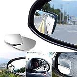 Xiaokai 2pcs / Set Forma de Abanico de 360 Grados Ajustable de Cristal del Espejo de Coche HD Convexo Punto Ciego Espejo retrovisor Aparcamiento para Coche, camión, Todoterreno