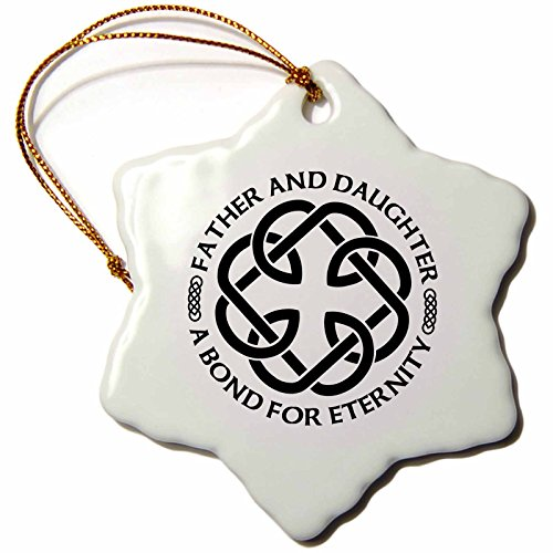 3dRose Celtic Fatherhood Knot Father and Daughter A Bond for Eternity Snowflake Ornament, 3'