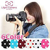 【ラパンカメラ】 可愛い 水玉 6色 カメラストラップ おしゃれ 一眼レフ ミラーレス カメラ かわいい ストラップ 女子 男女兼用 Red/dot