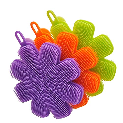 TUA - Esponja de Silicona para Platos, 3 Piezas, Suave y deCocina, de Silicona para Fregar, Cepillo para Lavar Platos, para Lavar Platos sin arañazos, Limpieza, 5,5 x 4,7 x 0,8 Pulgadas
