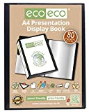 Eco-eco - Carpeta de presentación (A4, 50% reciclada, 80 bolsillos, color negro