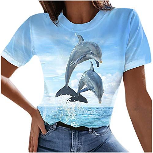 Tiop Camiseta de manga corta para mujer con estampado de delfín y cuello redondo, estilo informal