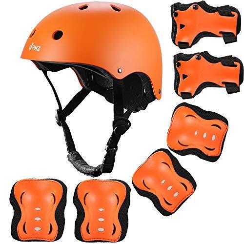 PHZ. Kids Bike Helmet Toddler Adjustable Helmet for Kids 3-8 Years Girls Boys, Sport Protective Gear Set Knee Elbow Wrist Pads for Roller Skating Skateboard BMX Scooter Cycling (Orange)