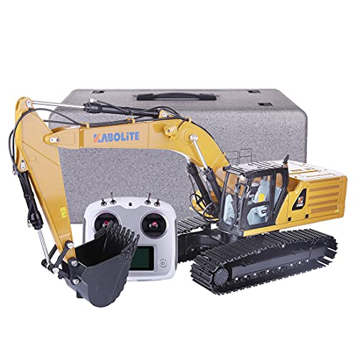 HMANE RC Excavator 1/16, 2.4G 24 Channel Remote Control Hydraulic Drive Excavator All Metal Full Functional Engineering Truck Digger Vehicle Toy for Adults, with LED Lights