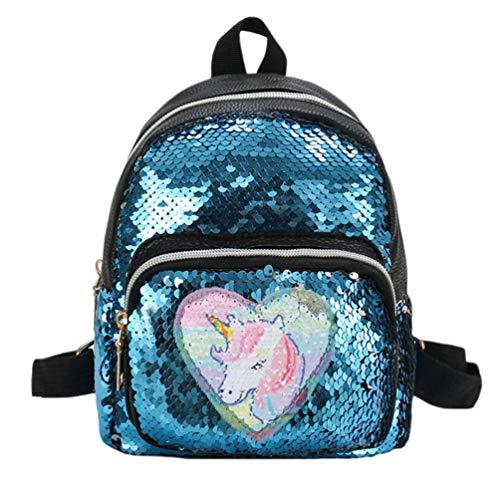 Mochila de Lentejuelas Unicornio Mochila Escolar de Moda para niñas Mochila de Sirena Brillante Mochila Linda con Forma de Unicornio - Azul
