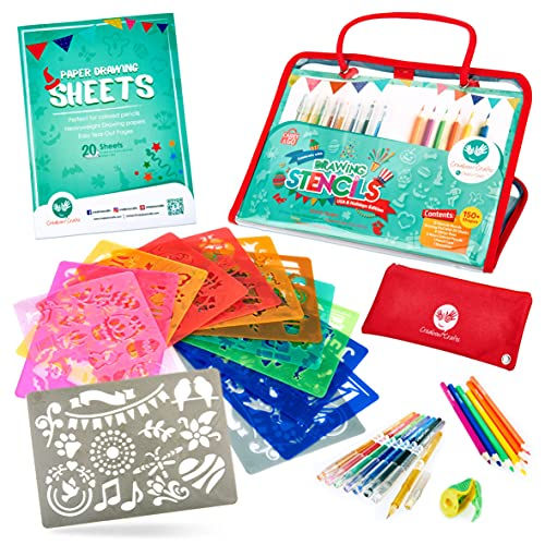 Drawing Holiday Stencils for Kids- All-in-one Drawing kit with Festival Shapes to Create DIY Crafts - Great Gift for Girls & Boys to Replace Screens- Ideal Coloring Stencils Loved by School Teachers