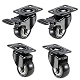 set of 4 : 2 Wheels with brakes + 2 Wheel without brakes Smooth rolling, wear-resisting, durable and noiseless - Material : Nylon / Powder Coating Steel Heavy duty steel plate, Double ball bearing swivel head - Load carrying capacity of up to 330 Kg,...
